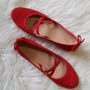 Stuart Weitzman Bolshoi Red Suede Ballet Flats
